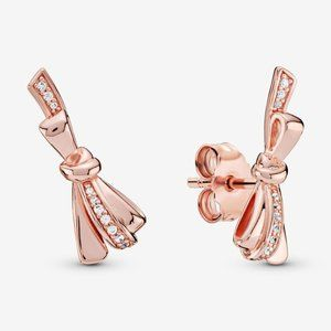 Pandora Sparkling Bow Stud Earrings